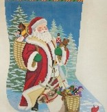 Canvas SANTA REINDEER AND TOY BASKETS 156