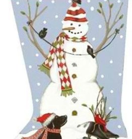 Canvas SNOWMAN STOCKING MLT233