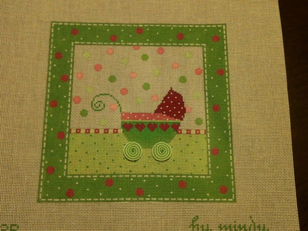 Canvas BABY BUGGY IN GREEN  3R