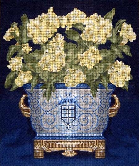Canvas WHITE FLOWERS CACHE POT  DL204