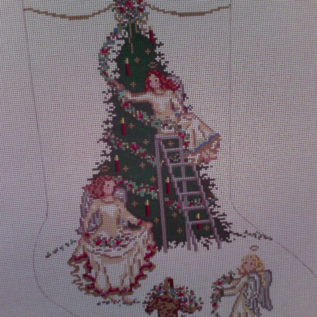 Canvas ANGELS AND GARLANDS STOCKING 2150
