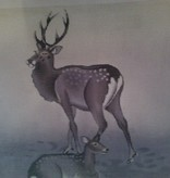 Canvas WINTER DEER  8X8  B0157