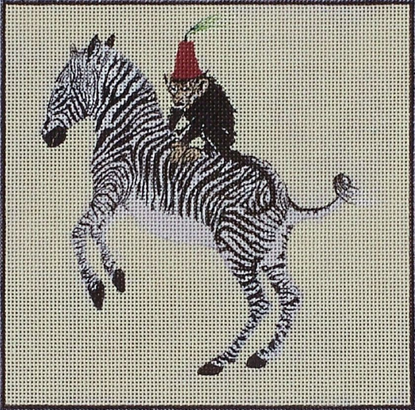 Canvas MONKEY ON ZEBRA WITH RED LAQUER BOX