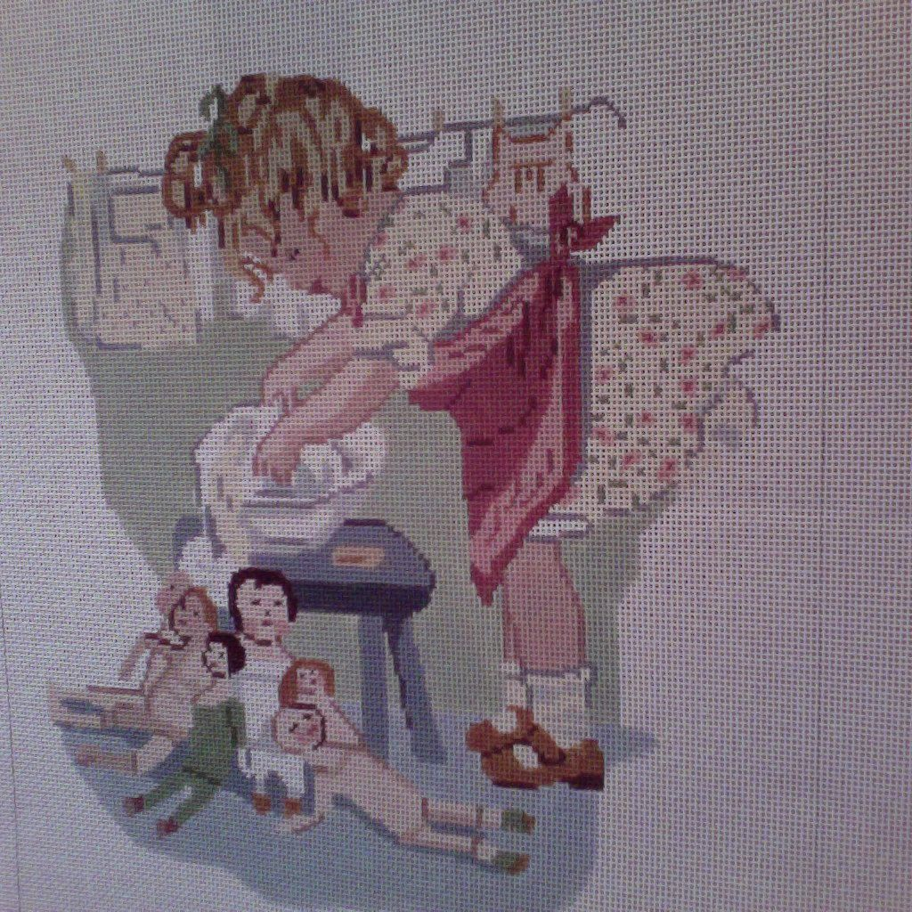Canvas WASHING DOLLYS CLOTHES  2088A