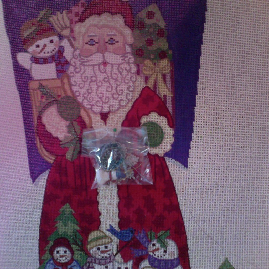Canvas SANTA WITH SNOWMEN AND HOLDING CHARMS  7265