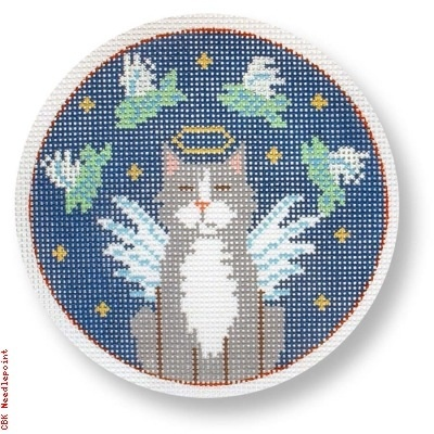 Canvas GREY ANGEL CAT WITH FISH  CEXO 02