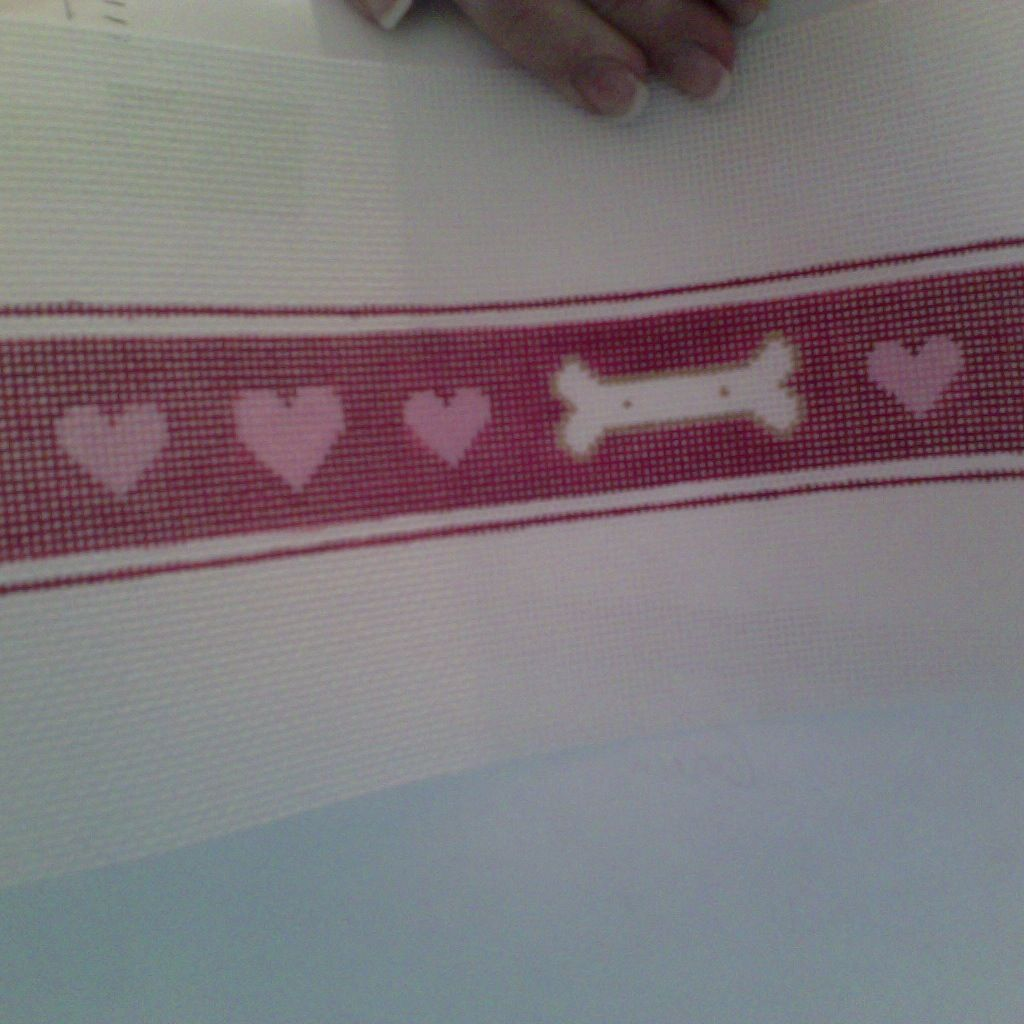 Canvas BONES AND HEARTS DOG COLLAR  P621