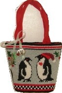 Canvas CHRISTMAS PENGUINS  MINI BAG PU320