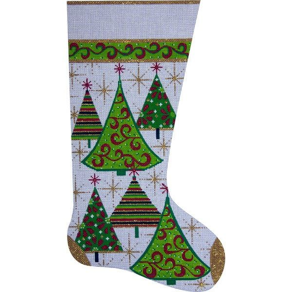 Canvas GOLD XMAS TREE STOCKING  2304