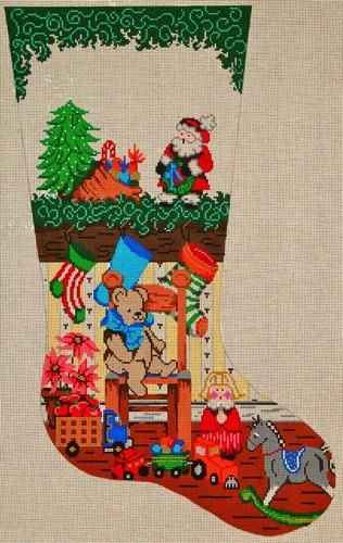 Canvas TEDDY BEAR AND TOYS STOCKING  6251