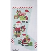 Canvas MINI SANTAS AND GIFTS STOCKING 2427