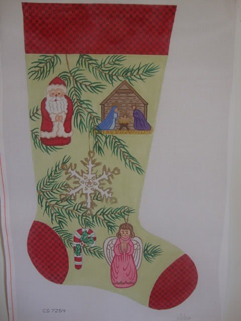 Canvas SANTA AND NATIVITY STOCKING  CS7254