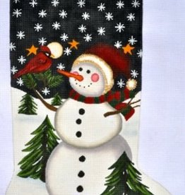 Canvas SNOWMAN AND CARDINAL STOCKING  LK52