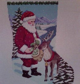 Canvas SANTA FEEDING APPLES REINDEER  119