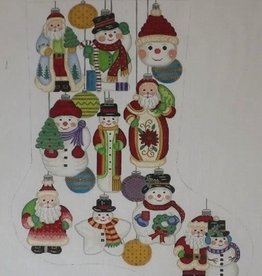 Canvas SNOWMEN ORNAMENTS  STOCKING CS7277