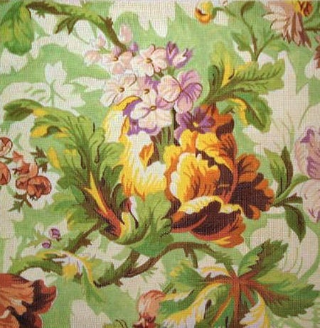 Canvas GREEN FLORAL WITH CABBAGE   010S