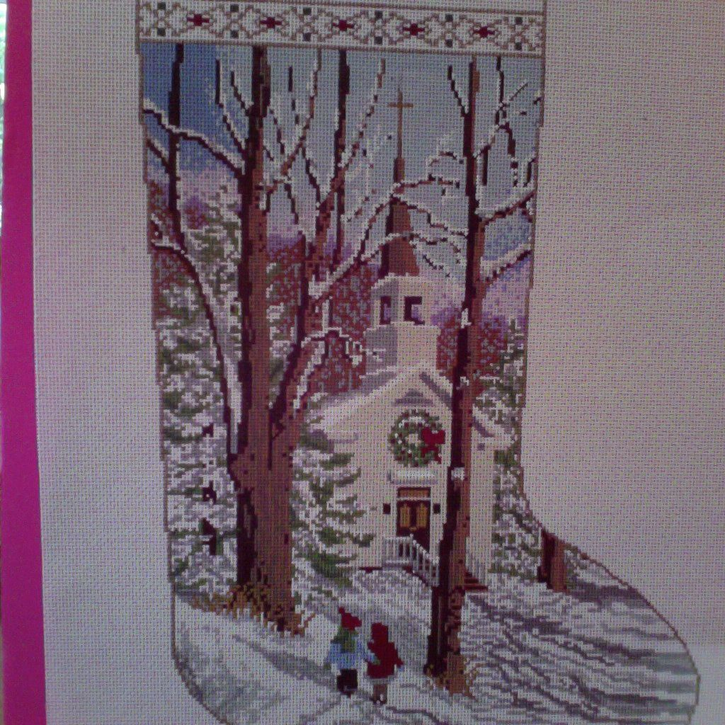 Canvas WINTER CHURCH STOCKING M247