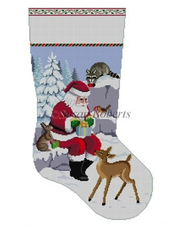Canvas SANTA AND ANIMALS WRAPPING PRESENTS  3209