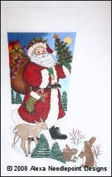 Canvas SANTA WITH ANIMALS   CS7201
