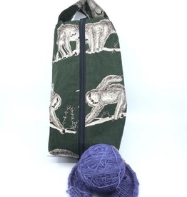 Accessories LARGE BOX BAG - FABRIC SLOTHS ON FOREST GREEN