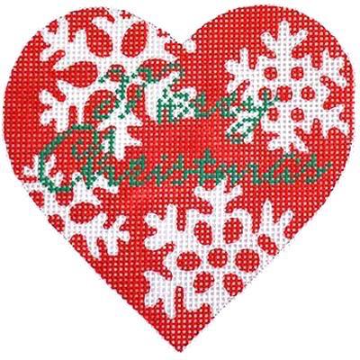 Canvas RED SNOWFLAKE XMAS HEART KB057
