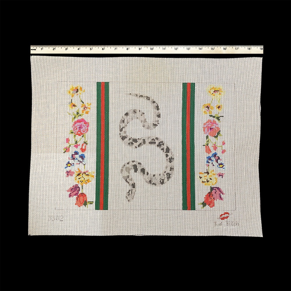 Canvas SNAKE WITH STRIPES AND FLOWERS