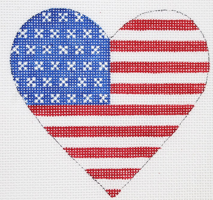 Canvas MINI HEART AMERICAN FLAG  OM232