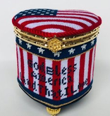 Canvas GOD BLESS AMERICA HINGED BOX  WITH HARDWARE FSHRT2