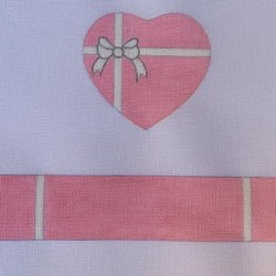 Canvas PINK BOW HEART SHAPED HINGED BOX  WITH HARDWARE FSHRT8
