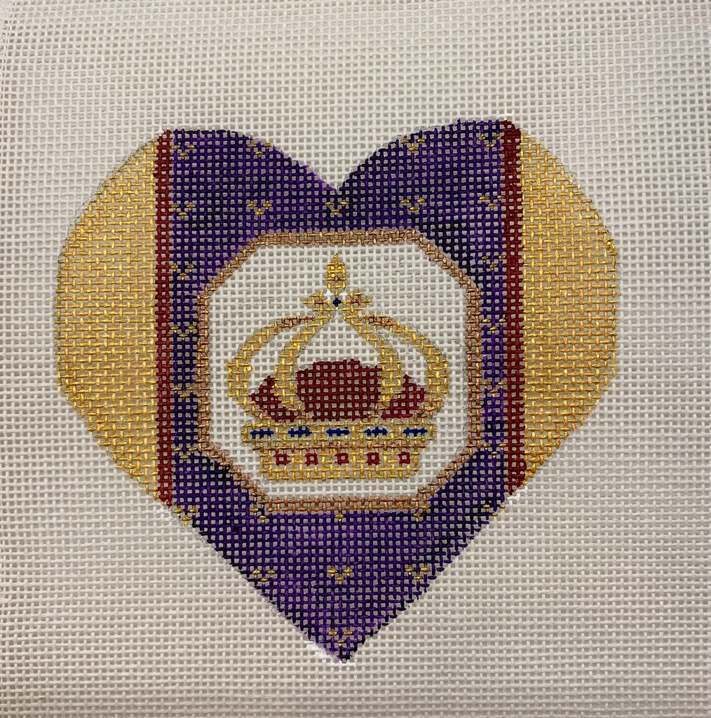 Canvas FANCY HEART CROWN WITH STITCHGUIDE  FH05