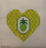 Canvas FANCY HEART PINEAPPLE WITH STITCHGUIDE  FH02