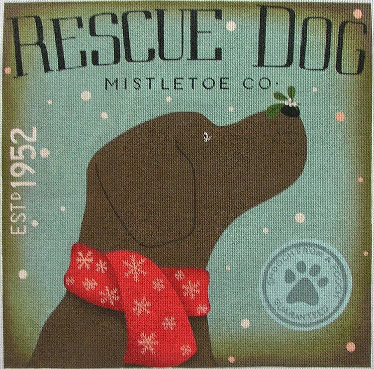 Canvas RESCUE DOG MISTLETOE  TCSF202