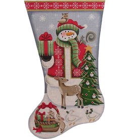 Canvas SNOWMAN WITH FOREST FRIENDS  1502B