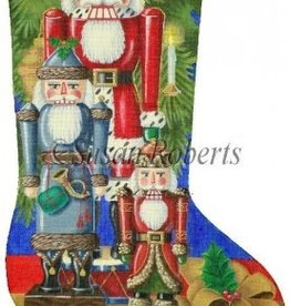 Canvas SANTA NUTCRACKERS STOCKING  TTAXS244