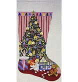 Canvas CHRISTMAS MORNING STOCKING  1997