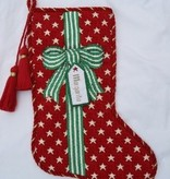 Canvas BOWS AND RIBBONS GREEN STARS STOCKING XS3G