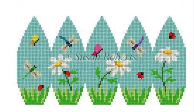 Canvas DAISIES AND BUGS, 3D STAND-UP EGG  0413