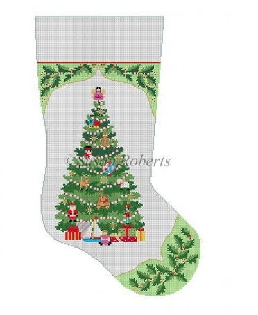 Canvas HOLLY AND TOY TREE STOCKING 3215