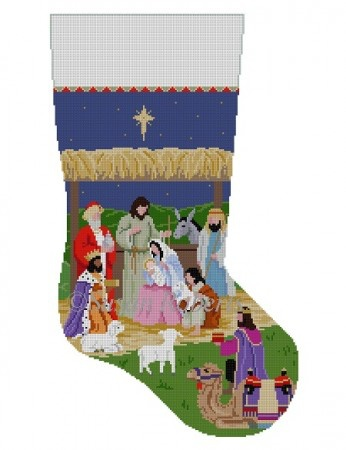 Canvas NATIVITY STABLE STOCKING 3239