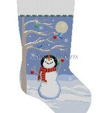 Canvas MOONLIT SNOWMAN BIRD TREE STOCKING 3207