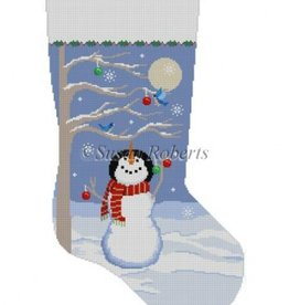 Canvas MOONLIT SNOWMAN BIRD TREE STOCKING 3207