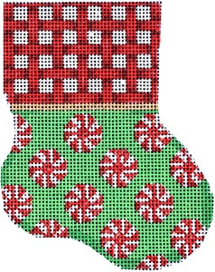 Canvas RED WOVEN CUFF/PEPPERMINT MINI SOCK  CT1916
