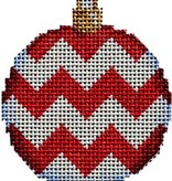 Canvas RED CHEVRON BALL  ORNAMENT  CT1482R