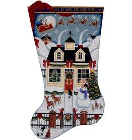 Canvas CHRISTMAS COTTAGE STOCKING 1377B