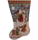 Canvas SNOWMAN WITH CARDINALS STOCKING 1388C