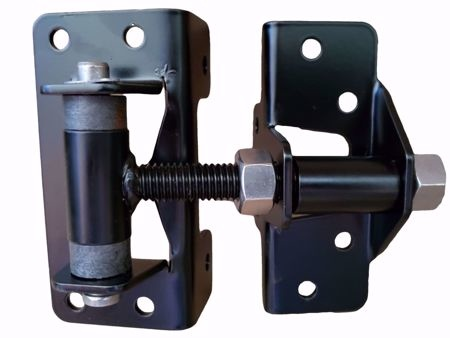 "MODERN FENCE TECHNOLOGIES 2"" ORNAMENTAL IRON/CEDAR HINGE - BLACK - WRAP AROUND - WITH SPRINGS"