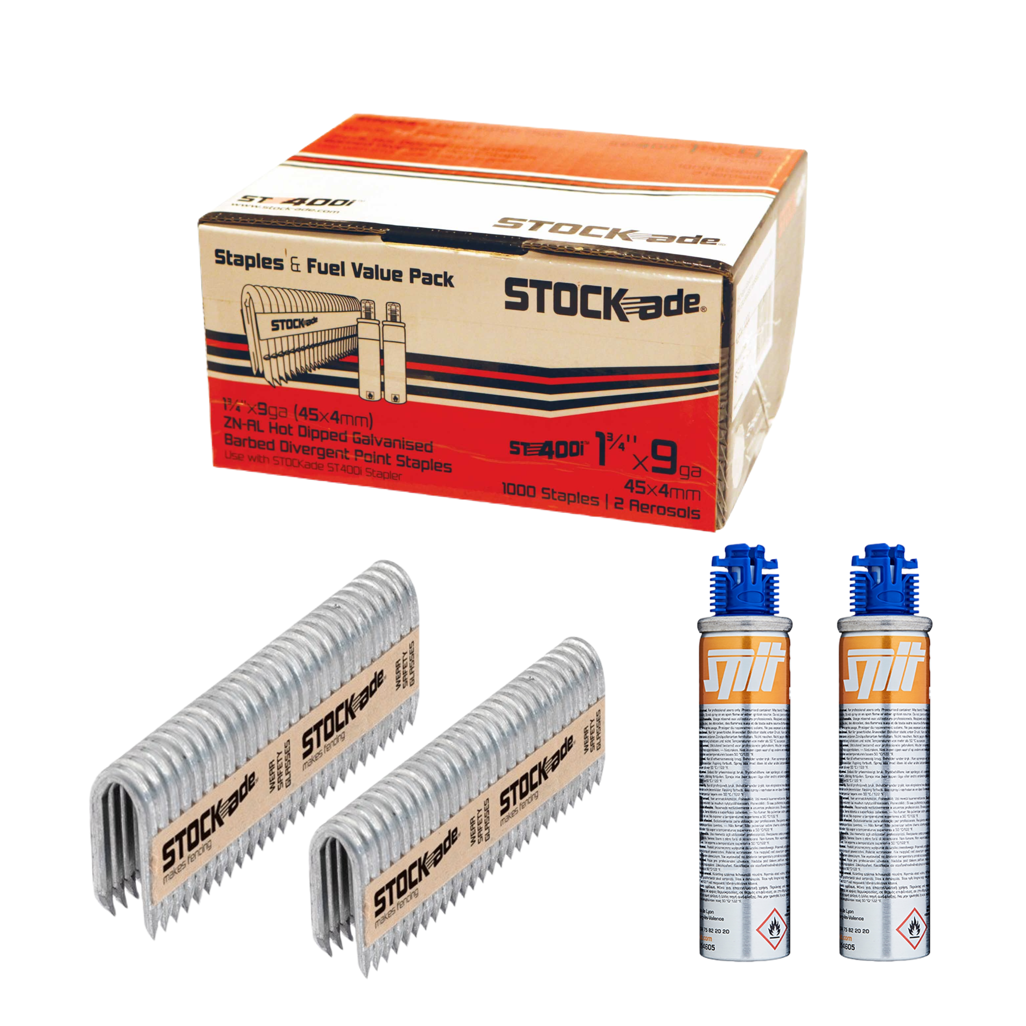 """Stockade 1 3/4"""" STOCK-ADE ST400i BARBED STAPLES / BOX WITH FUEL PACK"""