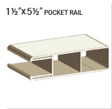 "NATIONAL VINYL PRODUCTS 1 1/2"" X 5 1/2"" VINYL DURA POCKET RAIL (0.080 WALL)"