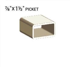 "VEKA 7/8"" X 1 1/2"" VINYL PICKET PROFILE"