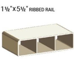 "VEKA 1 1/2"" X 5 1/2"" VINYL RANCH RAIL PROFILE (0.090"" WALL) 192"""